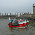 Fishing Boat Wy110 Emulater - Entering Whitby Harbour by Rod Johnson