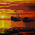 Fishing Boats At Sunset by Rich Walter