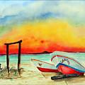 fishing boats Corozal Belize by Paul Sandilands