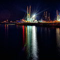 Fishing Boats In Marina At Night by Alex Grichenko