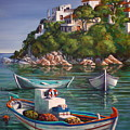 Fishing Boats In Skiathos Old Port by Yvonne Ayoub