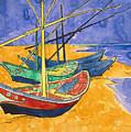 Fishing Boats on the Beach at Saintes Maries de la Mer by Vincent Van Gogh