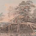 Fishing By A Footbridge by George Samuel