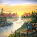 Fishing Cabin At Sunrise by Larry Hamilton