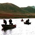 Fishing For Salmon - Karluck River - Kodiak Island Alaska by Merton Allen