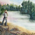 Fishing On The Banks Of The Churchill River, Sask, Ca by Diane Binder
