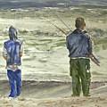 Fishing On The Beach by Shirley Sykes Bracken