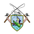 Fishing Rod Reel Blue Marlin Beer Bottle Coat Of Arms Drawing by Aloysius Patrimonio