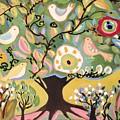 Five Birds In Garden Tree by Karen Fields