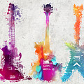 Five Colored Guitars by Justyna JBJart