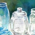 Five Jars In Window by Sukey Watson