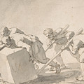 Five Men Pushing A Block Of Stone by Jacques Stella