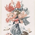 Five Prints With Flowers In Glass Vases, Anonymous, After Jean Baptiste Monnoyer, 1688 - 1698 by Jean Baptiste Monnoyer