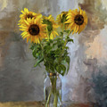 Five Sunflowers Centered by Lois Bryan