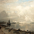 Fjord Landscape With Figures by Georg Anton Rasmussen