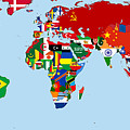 Flag Map Of The World 1965 by Movie Poster Prints