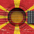Flag Of Macedonia On An Old Vintage Acoustic Guitar by Jeff Bartels