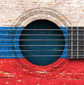 Flag Of Russia On An Old Vintage Acoustic Guitar by Jeff Bartels