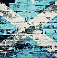 flag of Scotland painted on old brick wall by Dan Radi
