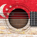 Flag Of Singapore On An Old Vintage Acoustic Guitar by Jeff Bartels