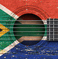 Flag Of South Africa On An Old Vintage Acoustic Guitar by Jeff Bartels