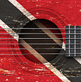 Flag Of Trinidad And Tobago On An Old Vintage Acoustic Guitar by Jeff Bartels
