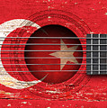 Flag Of Turkey On An Old Vintage Acoustic Guitar by Jeff Bartels