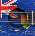 Flag Of Turks And Caicos On An Old Vintage Acoustic Guitar by Jeff Bartels