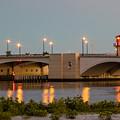 Flagler Bridge In Lights IIi by Debra and Dave Vanderlaan