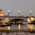 Flagler Bridge In Lights Iv by Debra and Dave Vanderlaan