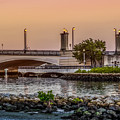 Flagler Bridge In The Evening Iv by Debra and Dave Vanderlaan