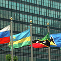 Flags Of Various Nations Outside The United Nations Building. by Richard Wareham