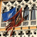Flags On Palazzo In Venice by Michael Henderson