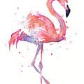 Flamingo Watercolor Facing Right by Olga Shvartsur