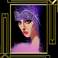 Flapper In Purple Hat - Framed by Chuck Staley