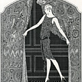 Flapper Opening A Curtain by American School