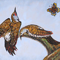 Flickers Dancing Wild Animal Vignette From River Mural by Dawn Senior-Trask