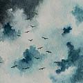 Flock Of Birds Against A Dark Sky  by Michael Vigliotti