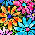 Floral Art - Big Flower Love - Sharon Cummings by Sharon Cummings