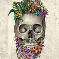 Floral Beard Skull by Bekim Art