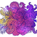 Purple Floral Indian Pattern by Aloke Creative Store