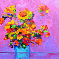 Floral Still Life - Flowers In A Vase Modern Impressionist Palette Knife Artwork by Patricia Awapara