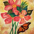 Floral With Butterfly by Maria Urso
