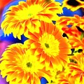 Floral Yellow Painting Lit by Catherine Lott