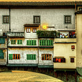 Florence - Boats Under The Ponte Vecchio Sunset - Untextured by Weston Westmoreland