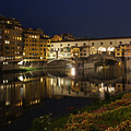 Florence Italy Night Magic - A Glamorous Evening At Ponte Vecchio by Georgia Mizuleva