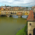 Florence Italy View Of Arno River And Ponte Vecchio by Gregory Dyer