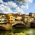 Florence -  Ponte Vecchio From The Northwestern Bank - Vintage by Weston Westmoreland