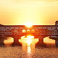 Florence Ponte Vecchio Panorama At Sunset by Songquan Deng
