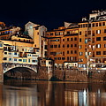 Florence Ponte Vecchio Panorama Night by Songquan Deng